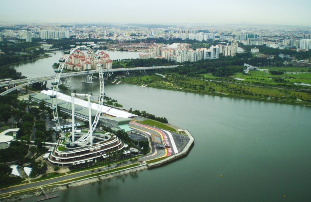 Singapore Flyer from Marina Bay Sands